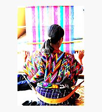 Woman Weaving Photographic Print