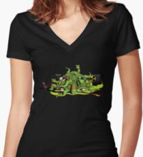 Hideously Mutated Ninja Turtles Women's Fitted V-Neck T-Shirt