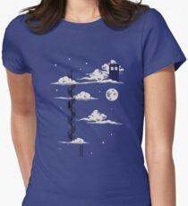 He lives on a cloud in the sky Women's Fitted T-Shirt