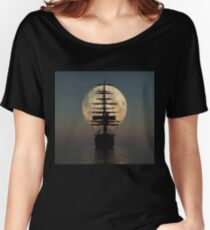 Pirate ship with full moon Women's Relaxed Fit T-Shirt