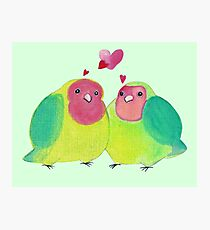 Cute Watercolor Love Birds Photographic Print