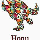 Tribal Hawaiian Sea Turtle in Rainbow by pjwuebker