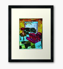 RECLINER IN A LIVING ROOM - acrylic, tempera, paper 22 x 28'' Framed Print