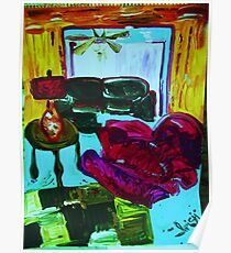 RECLINER IN A LIVING ROOM - acrylic, tempera, paper 22 x 28'' Poster