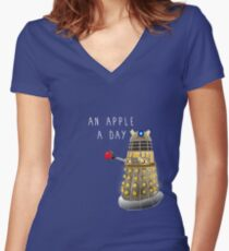 An Apple a Day Keeps the Doctor Away Women's Fitted V-Neck T-Shirt