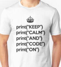 Keep Calm And Code On - Python - Black Unisex T-Shirt