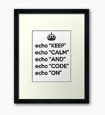 Keep Calm And Code On - Shell Script - Black Framed Print