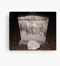 Padgett Tomb Stone Artistic Photograph by Shannon Sears Canvas Print