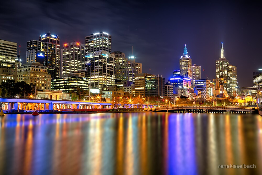 Melbourne Skyline Reflections by renekisselbach