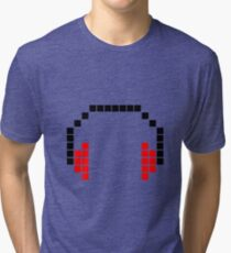 8 Bit Headphones; Pixel Headphones Tri-blend T-Shirt