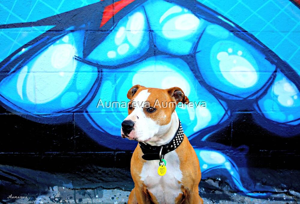 Graffiti  dog- blue by Aumareva Aumareva