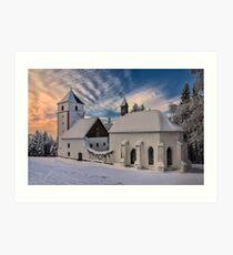 Snowed in church Art Print