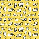 Yellow Kitties by HappyDoodleLand