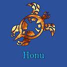 Golden Hawaiian Sea Turtle on Ocean Blue by pjwuebker