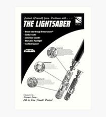Star Wars Lightsaber Retro Ad Art Print