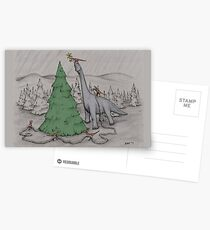 Dinosaurs Trimming the Tree - Colored Postcards