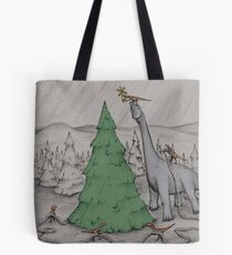 Dinosaurs Trimming the Tree - Colored Tote Bag