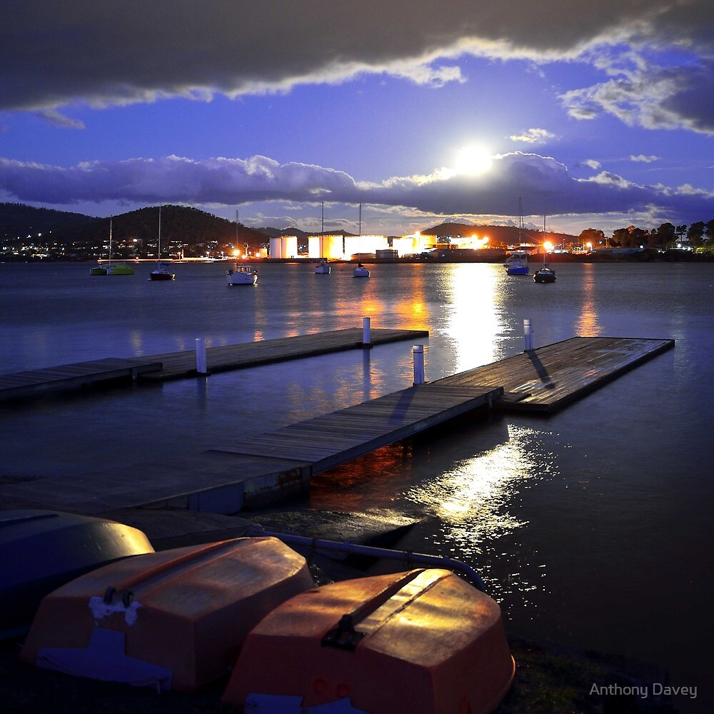 Full Moon New Town Bay by Anthony Davey