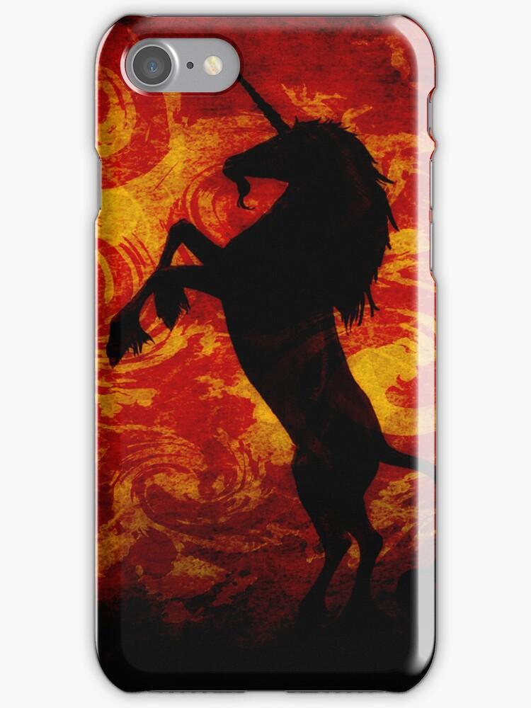 Dark Unicorn on Red by Dragos Dumitrascu