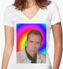 Nicolas Cage's Mind Women's Fitted V-Neck T-Shirt