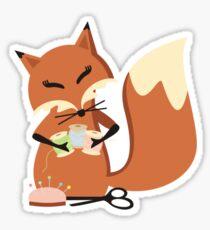 Cute fox seamstress sewing thread scissors Sticker
