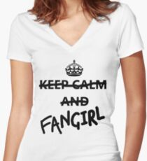 Keep Calm and Fangirl Women's Fitted V-Neck T-Shirt