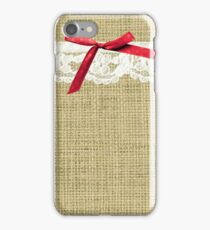 girly burlap and lace with pink bow iPhone Case/Skin