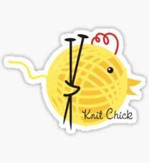 knitting needles knit chick ball of yarn Sticker
