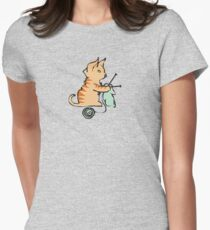 Cute cat knitting needles ball of yarn Womens Fitted T-Shirt
