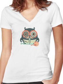 crochet hook owl paisley mustache steampunk skeleton Women's Fitted V-Neck T-Shirt