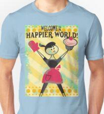 Happier World retro baking cupcake poster Unisex T-Shirt
