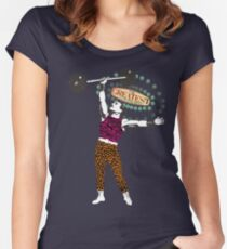 Vintage circus strong man gay man animal print tights Women's Fitted Scoop T-Shirt