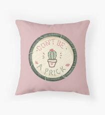 Don't Be A Prick Cactus Succulent Embroidery Style Patch Throw Pillow