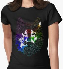 Geometric Wolf Womens Fitted T-Shirt