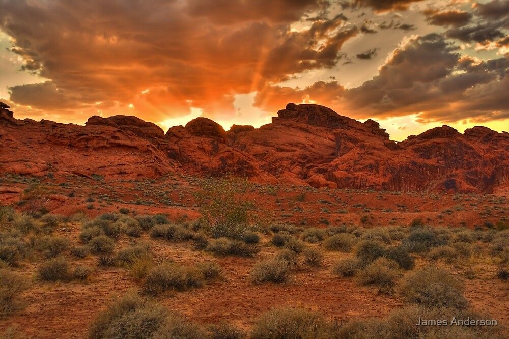 Explosive Sunset - Valley of Fire by James Anderson