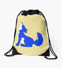 Blue Howling Wolf Pup Drawstring Bag