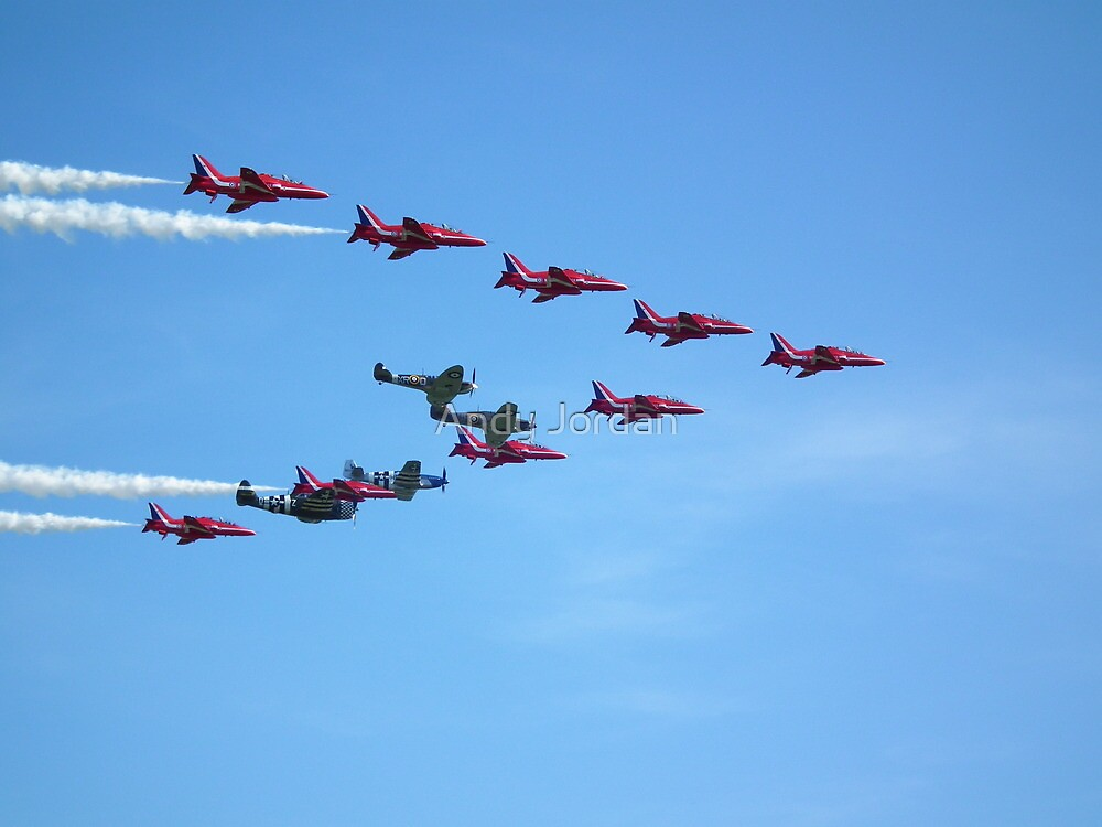 Red Arrows and The Eagle Squadron in formation.... by Andy Jordan