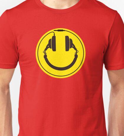 Headphones smiley wire plug Unisex T-Shirt
