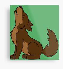 Brown Howling Wolf Pup Metal Print