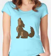 Brown Howling Wolf Pup Women's Fitted Scoop T-Shirt