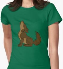 Brown Howling Wolf Pup Women's Fitted T-Shirt