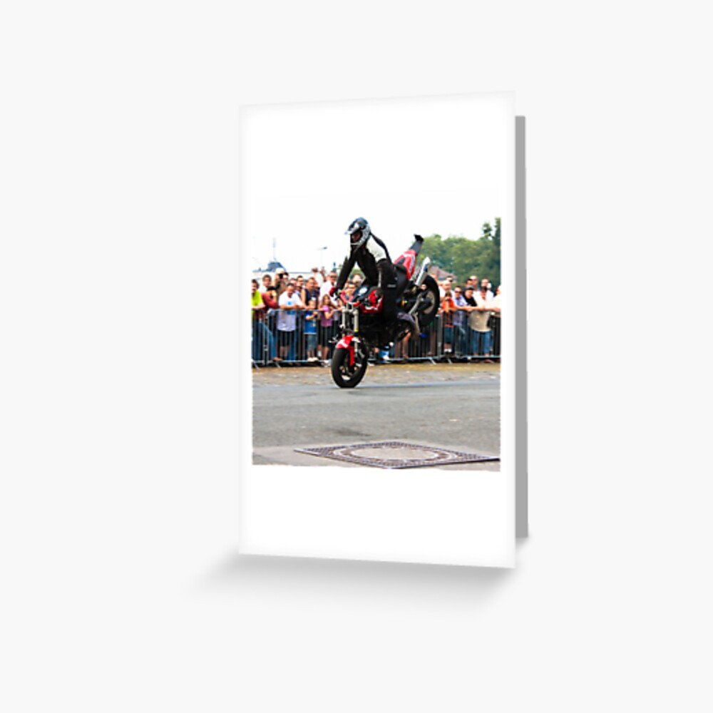 motorcycle stunt 002 Greeting Card