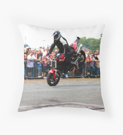 motorcycle stunt 002 Throw Pillow