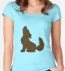 Solid Brown Howling Wolf Pup Women's Fitted Scoop T-Shirt