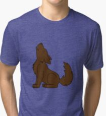 Solid Brown Howling Wolf Pup Tri-blend T-Shirt
