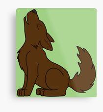 Solid Brown Howling Wolf Pup Metal Print