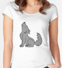 Solid Gray Howling Wolf Pup Women's Fitted Scoop T-Shirt