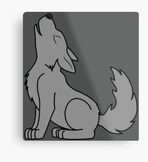 Solid Gray Howling Wolf Pup Metal Print