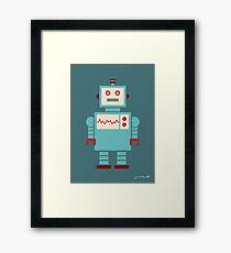 Robot graphic (Blue on blue) Framed Print