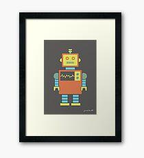 Robot graphic (Orange & blue on gray) Framed Print